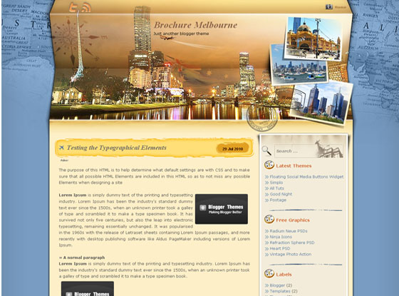 Brochure Melbourne Blogger Template