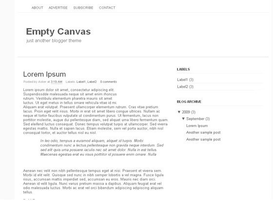Empty Canvas Blogger Template