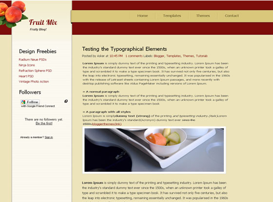Fruit Mix Blogger Template