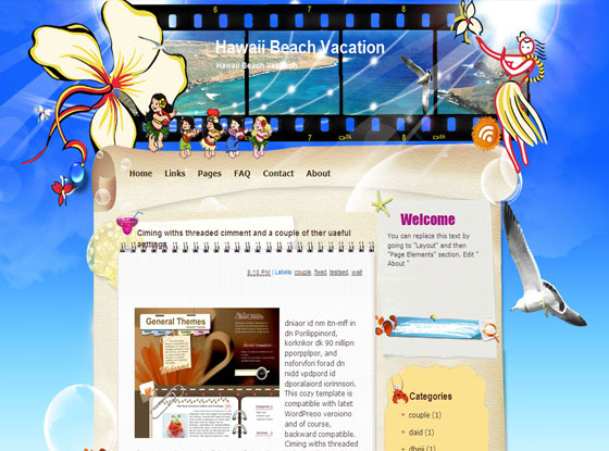 Hawaii Beach Vacation Blogger Templates