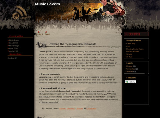 Music Lovers blogger template