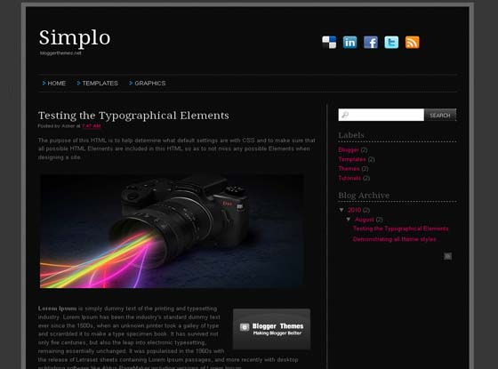 Simplo Black blogger template