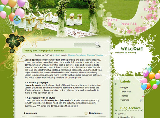 Technicolor Wedding blogger template