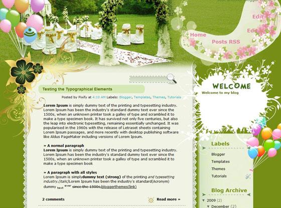 Technicolor Wedding blogger template