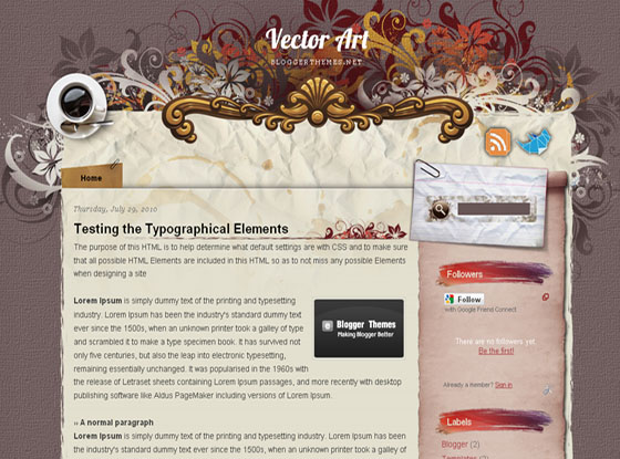 Vector Art Blogger Template