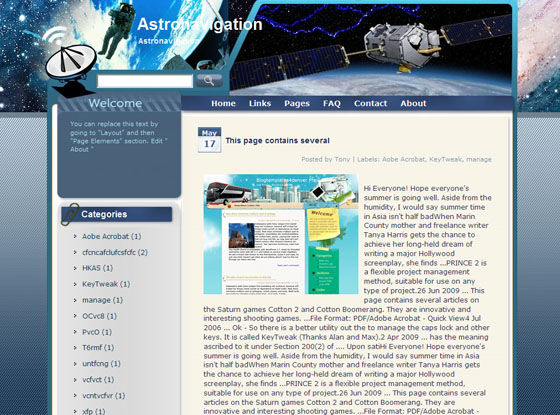 astronavigation blogger theme