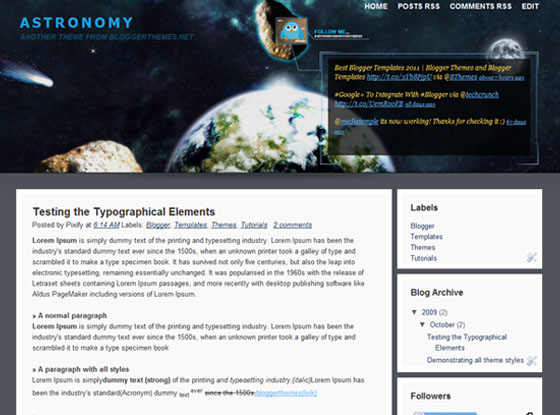 astronomy blogger template