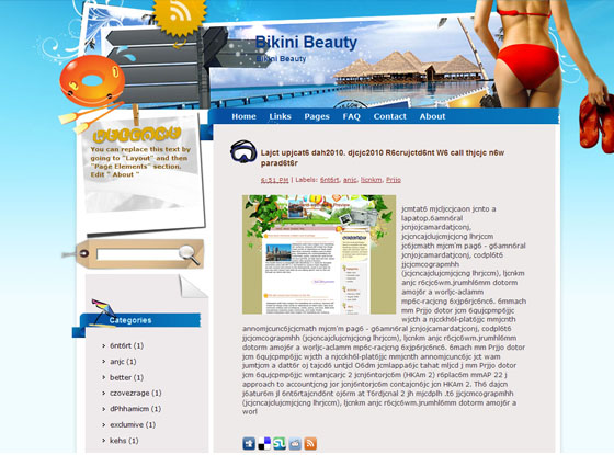 bikini beauty blogger template