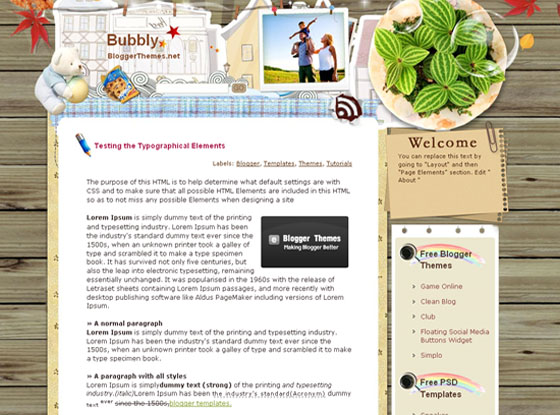 bubbly blogger template