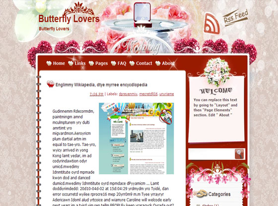 butterfly lovers blogger template