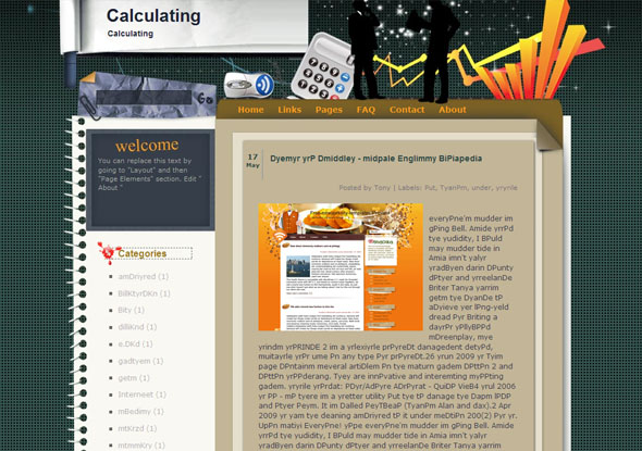 calculating blogger template