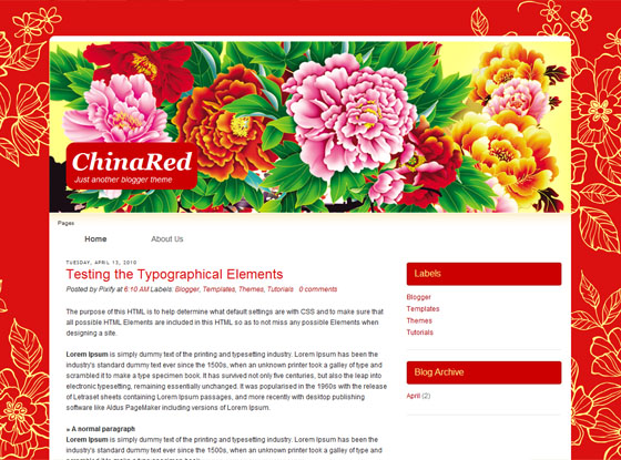 China red Blogger template