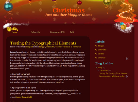 christmas blogger template