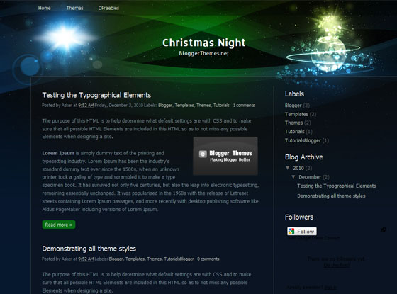 Christmas night blogger theme