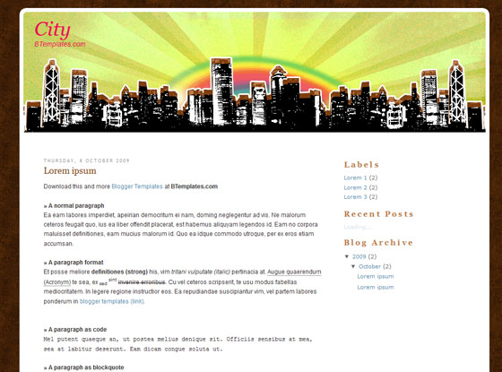 city blogger template