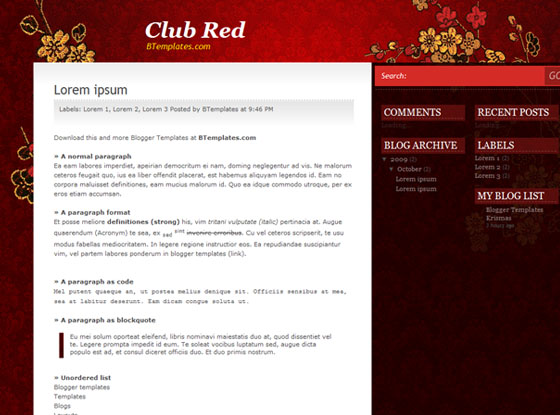 club red blogger template