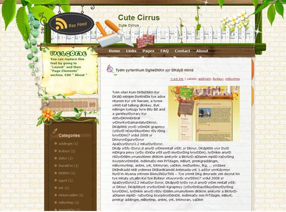 cute cirrus blogger theme