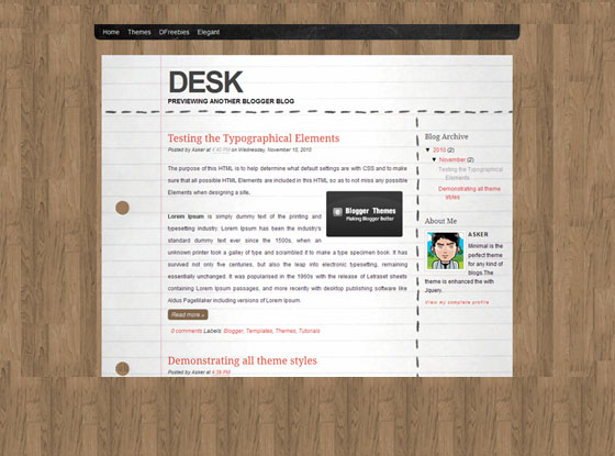desk theme blogger template