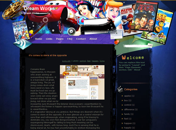 dreamworks blogger template