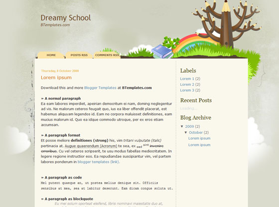 dreamy school blogger template