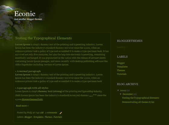 econic blogger template