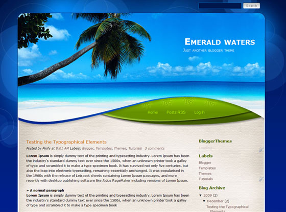 emerald waters blogger template
