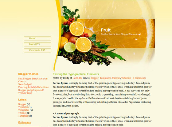fruit blogger template