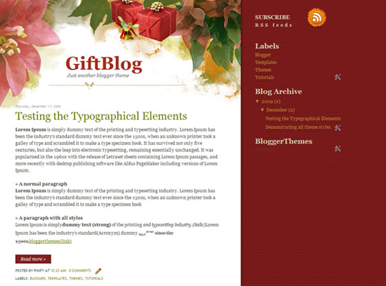 gift blog blogger template