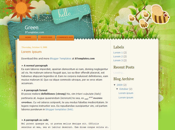 green blogger template