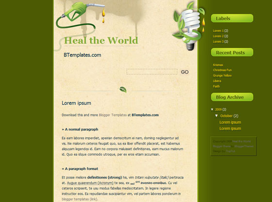 heal the world blogger template
