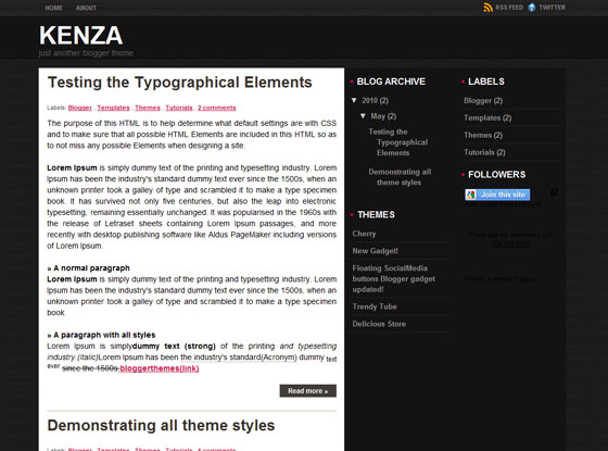 Kenza Blogger Theme | Template