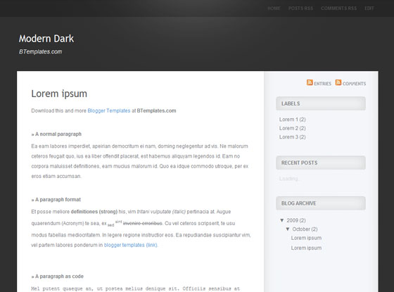 modern dark blogger template