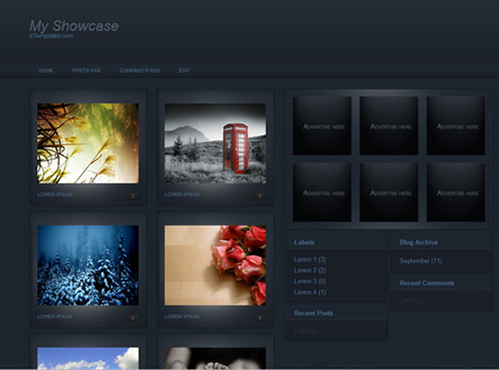 my showcase blogger template