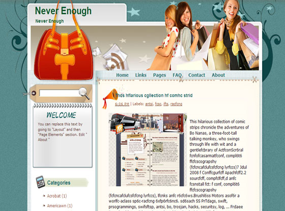 never enough blogger template