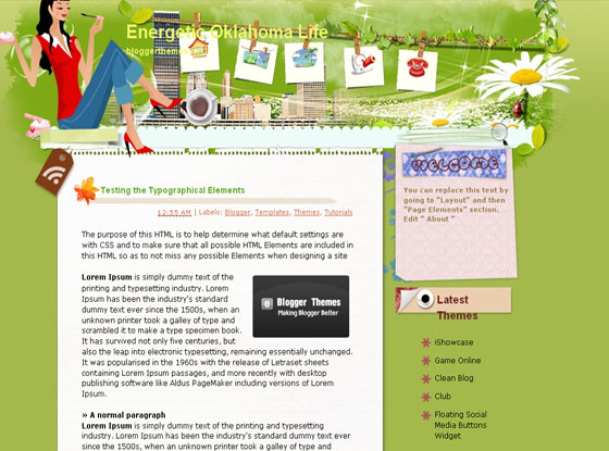 Energetic Oklahoma Life blogger template