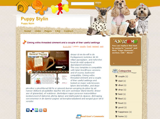 puppy stylin blogger template