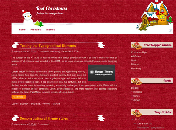 red christmas blogger template