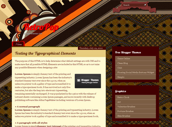 retropop blogger template