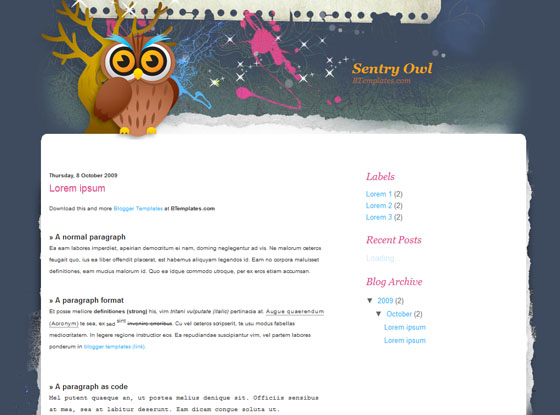 sentry owl blogger template