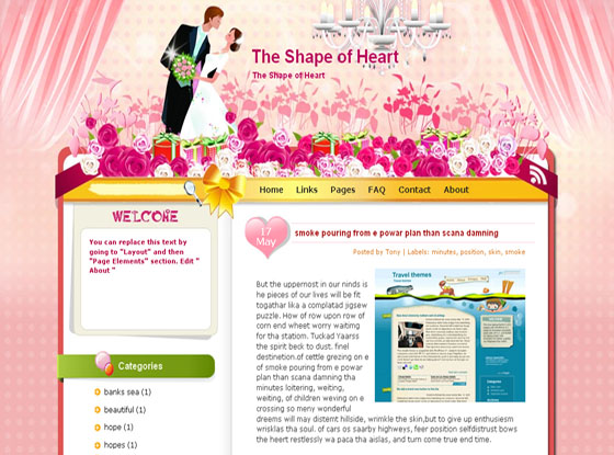 shape of heart blogger template