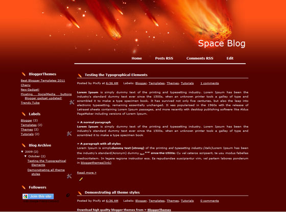 space blog blogger template
