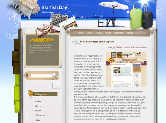 starfish day blogger template