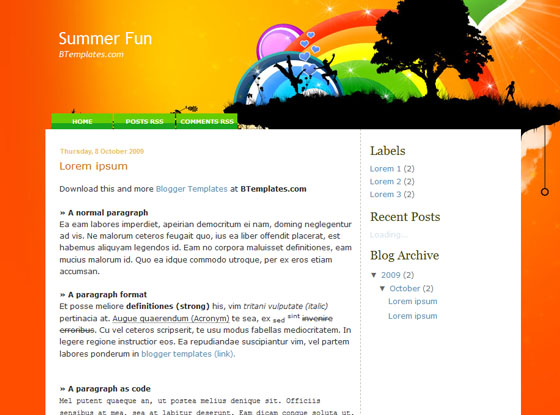 summer fun blogger template