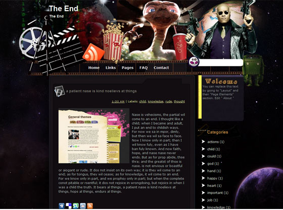 the end blogger template