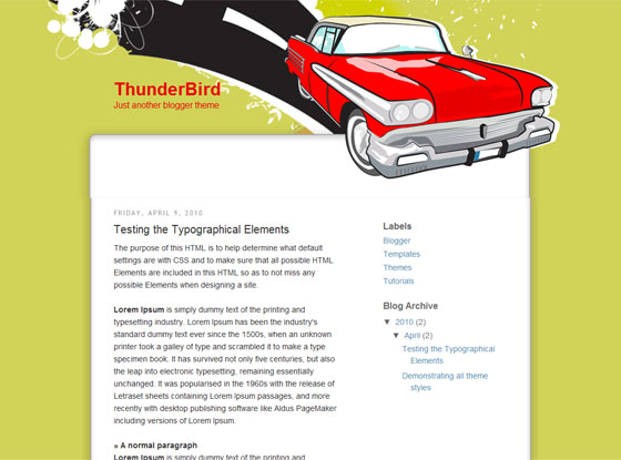 Thunder Bird Blogger template