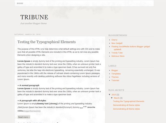 Tribune Blogger Template