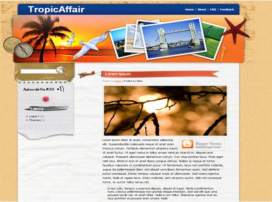 Tropic Affair Blogger Template