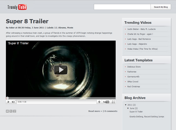 Trendy Tube Blogger Template