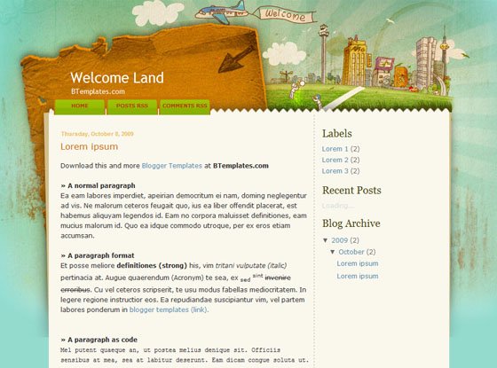 welcome land blogger template